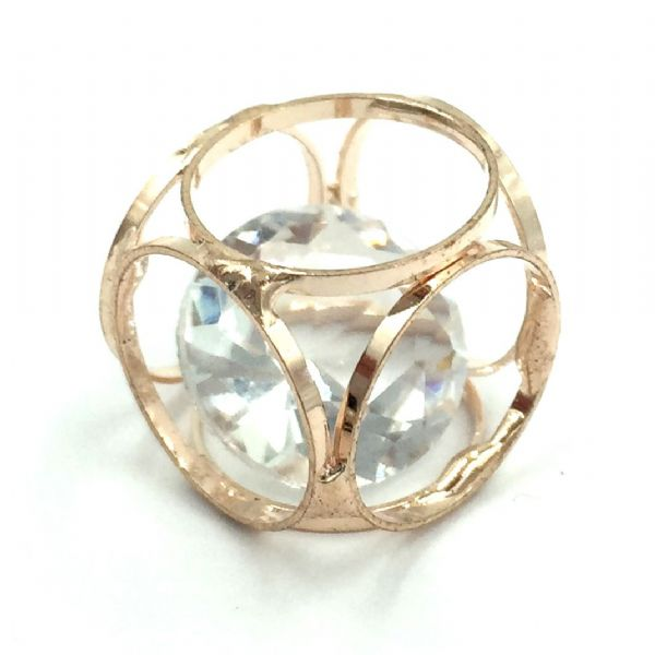 Caged cube with crystal inside - 15mm - Champagne - Rose gold
